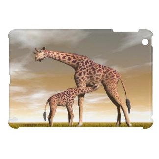 Girafe de maman et de bébé - 3D rendent Coque iPad Mini