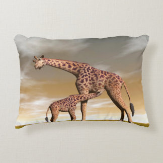 Girafe de maman et de bébé - 3D rendent Coussins Décoratifs