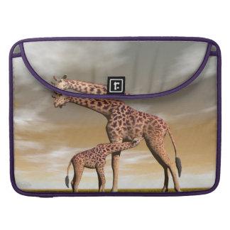 Girafe de maman et de bébé - 3D rendent Poches Pour Macbook