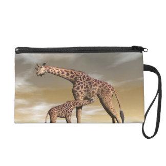 Girafe de maman et de bébé - 3D rendent Pochette Avec Dragonne