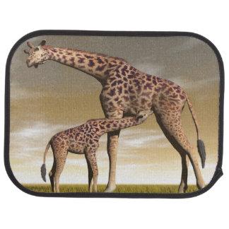 Girafe de maman et de bébé - 3D rendent Tapis De Sol