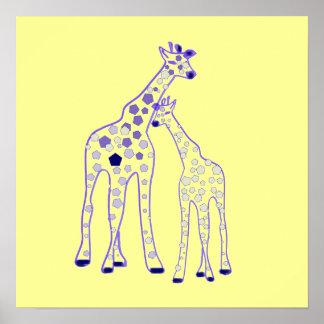 girafe de maman et de bébé poster