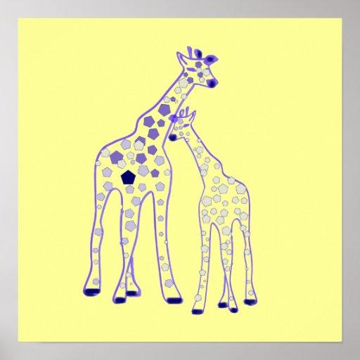 girafe de maman et de bébé posters
