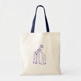 girafe de maman et de bébé sac de toile
