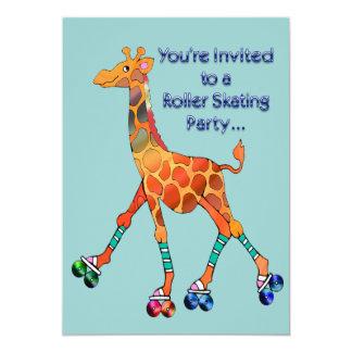 Girafe de partie de patinage de rouleau carton d'invitation  12,7 cm x 17,78 cm