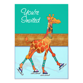 Girafe de patinage de glace à la piste carton d'invitation  12,7 cm x 17,78 cm