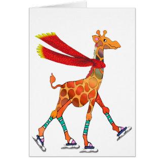 Girafe de patinage de glace avec le blanc carte de vœux