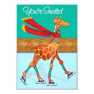 Girafe de patinage de glace avec l'écharpe à la faire-part personnalisé