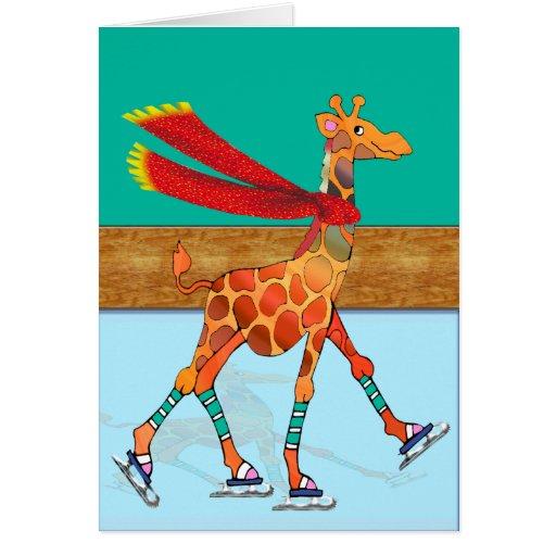 Girafe de patinage de glace avec l'écharpe au blan cartes de vœux