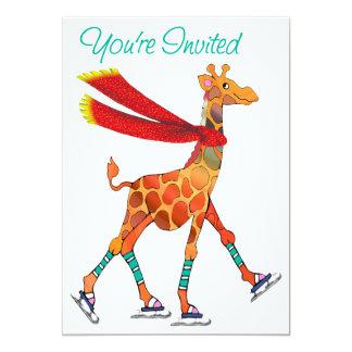 Girafe de patinage de glace avec l'invitation