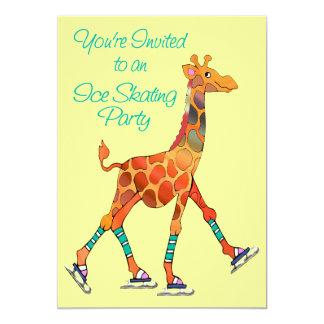 Girafe de patinage de glace invitations personnalisées
