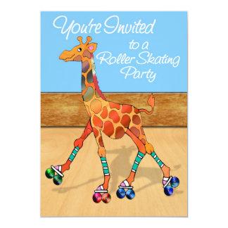 Girafe de patinage de rouleau à la partie de piste carton d'invitation  12,7 cm x 17,78 cm