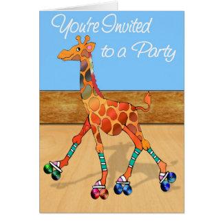 Girafe de patinage de rouleau à l'invitation de carte de vœux