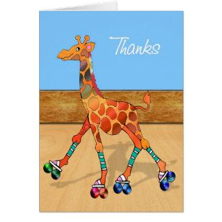 Girafe de patinage de rouleau aux mercis de piste carte de vœux