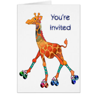Girafe de patinage de rouleau invitée carte de vœux