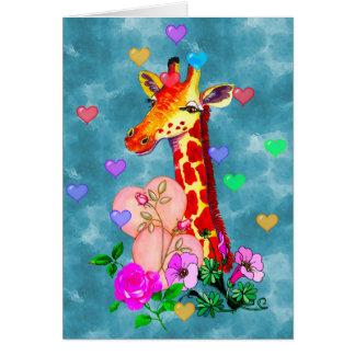 Girafe de Saint-Valentin Carte De Vœux