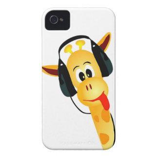 girafe drôle avec des écouteurs coques Case-Mate iPhone 4