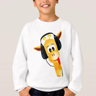 girafe drôle avec des écouteurs sweatshirt