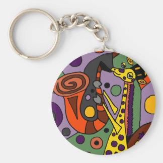 Girafe drôle jouant l'art d'original de saxophone porte-clés