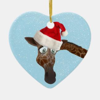 Girafe drôle mignonne dans le chapeau de Père Noël Décorations De Noël