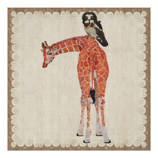 Girafe et affiche fleurie de hibou de Brown