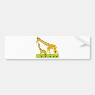 Girafe et bébé autocollant de voiture
