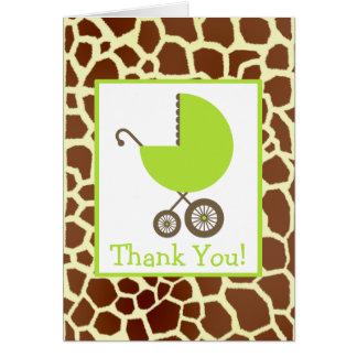 Girafe et Merci vert de baby shower de chariot Cartes