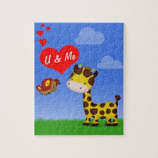 Girafe et papillon dans l'amour - puzzle