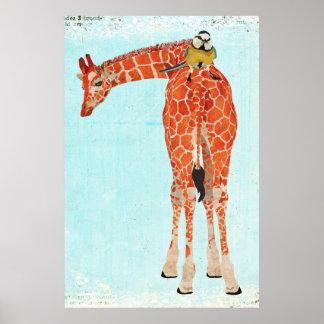 Girafe et petite affiche d'art d'oiseau