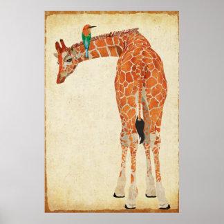Girafe et peu d'affiche d'art d'oiseau de jade