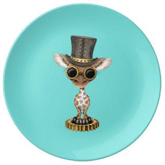 Girafe mignonne de bébé de Steampunk Assiette En Porcelaine