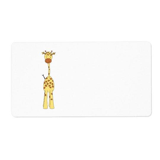 Girafe mignonne grande. Animal de bande dessinée Étiquettes D'expédition