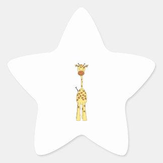 Girafe mignonne grande. Animal de bande dessinée Sticker Étoile