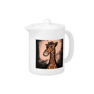 Girafe noire d'encre de bande dessinée