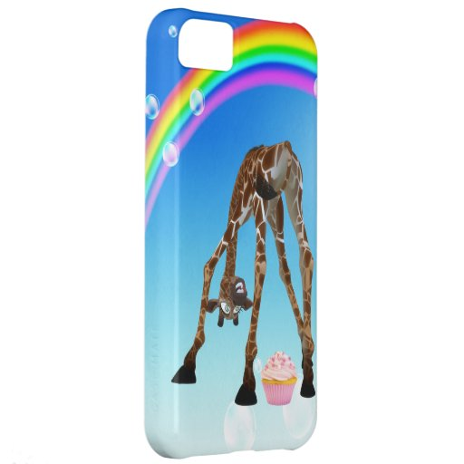 Girafe, petit gâteau et arc-en-ciel lunatiques drô étuis iPhone 5C
