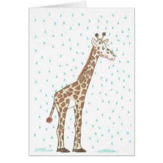 Girafe sous la pluie carte de vœux