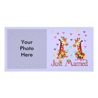 Girafes de mariage modèle pour photocarte