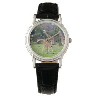 Giraffe_Family_Time, _Ladies_Black_Leather_Watch. Montres