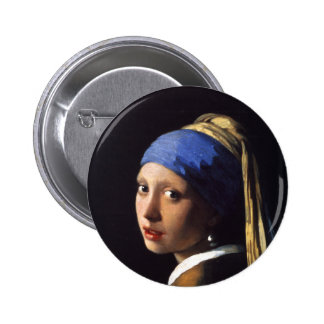 Girl with a pearl earring. By Johannes Vermeer Pin's Avec Agrafe