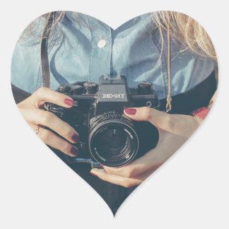 girl with caméra sticker cœur