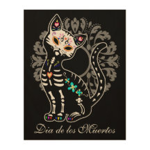 Girly Day of the Dead cute cat custom name