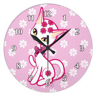 ~ girly mignon de rose de chat de Kitty Grande Horloge Ronde