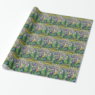 Gisement de fleurs avec les jacinthes et le pont papiers cadeaux