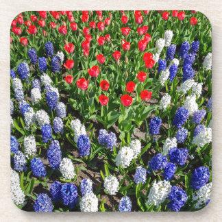 Gisement de fleurs avec les tulipes bleues et les dessous-de-verre