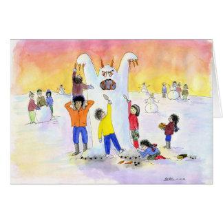 Givré le bonhomme de neige abominable carte de vœux