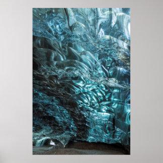 Glace bleue d'une caverne de glace, Islande Poster