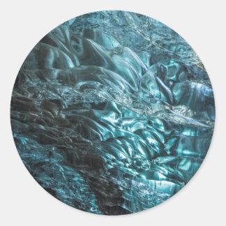 Glace bleue d'une caverne de glace, Islande Sticker Rond