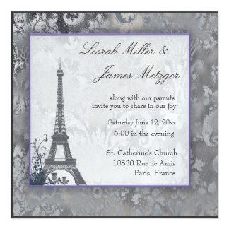 Glace écossaise de chardon de Tour Eiffel Carton D'invitation 13,33 Cm