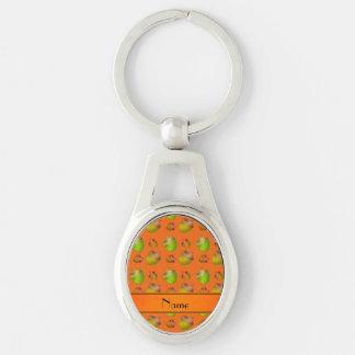 Glands oranges nommés personnalisés porte-clé ovale argenté