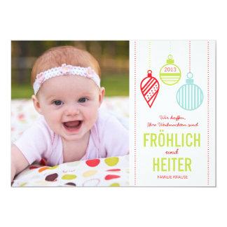 Glänzenden Verzierungen Foto Weihnachtskarte Carton D'invitation 12,7 Cm X 17,78 Cm